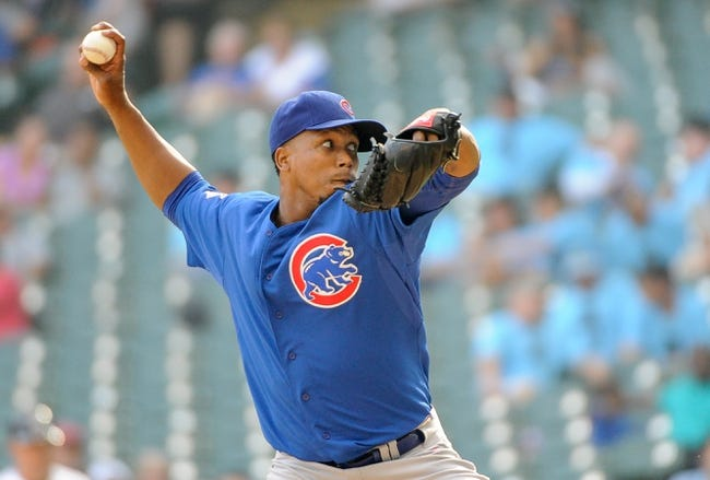 Sep 19, 2013; Milwaukee, WI, USA; Chicago Cubs pitcher Pedro Strop pitches in the eighth inning against the Milwaukee Brewers at Miller Park. Mandatory Credit: Benny Sieu-USA TODAY Sports