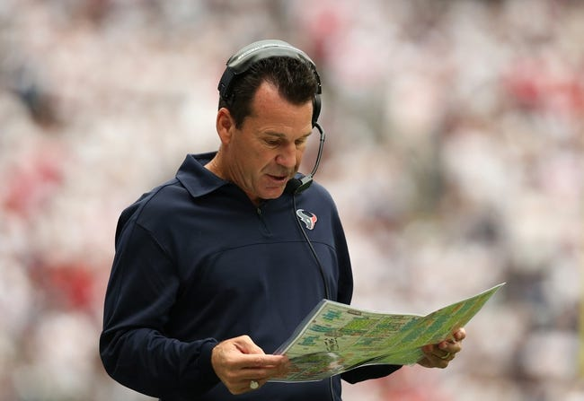 Sep 15, 2013; Houston, TX, USA; Houston Texans head coach Gary Kubiak on the sidelines against the Tennessee Titans at Reliant Stadium. Mandatory Credit: Matthew Emmons-USA TODAY Sports