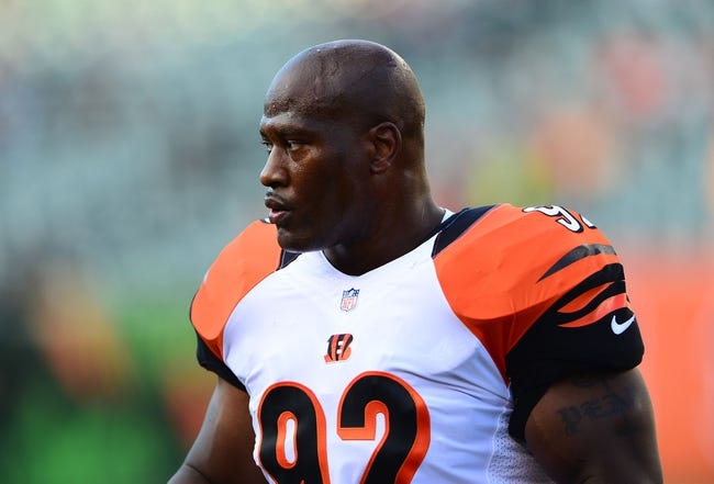 Aug 17, 2013; Cincinnati, OH, USA; Cincinnati Bengals outside linebacker James Harrison (92) against the Tennessee Titans at Paul Brown Stadium. Mandatory Credit: Andrew Weber-USA TODAY Sports