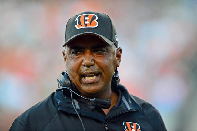 Aug 17, 2013; Cincinnati, OH, USA; Cincinnati Bengals head coach Marvin Lewis against the Tennessee Titans at Paul Brown Stadium. Mandatory Credit: Andrew Weber-USA TODAY Sports