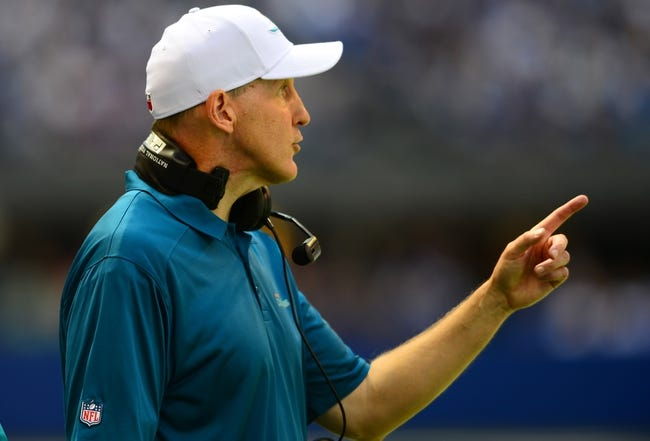 Sep 15, 2013; Indianapolis, IN, USA; Miami Dolphins head coach Joe Philbin against the Indianapolis Colts at Lucas Oil Stadium. Mandatory Credit: Andrew Weber-USA TODAY Sports