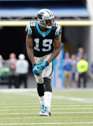 Sep 15, 2013; Orchard Park, NY, USA; Carolina Panthers wide receiver Ted Ginn (19) during the game against the Buffalo Bills at Ralph Wilson Stadium. Mandatory Credit: Kevin Hoffman-USA TODAY Sports