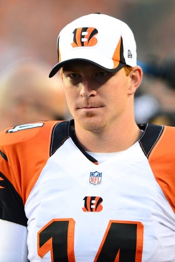 Aug 17, 2013; Cincinnati, OH, USA; Cincinnati Bengals quarterback Andy Dalton (14) against the Tennessee Titans at Paul Brown Stadium. Mandatory Credit: Andrew Weber-USA TODAY Sports