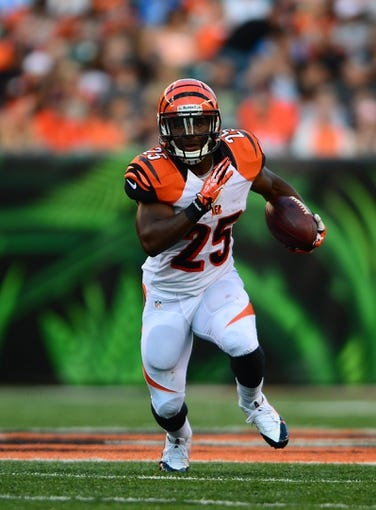 Aug 17, 2013; Cincinnati, OH, USA; Cincinnati Bengals running back Giovani Bernard (25) against the Tennessee Titans at Paul Brown Stadium. Mandatory Credit: Andrew Weber-USA TODAY Sports