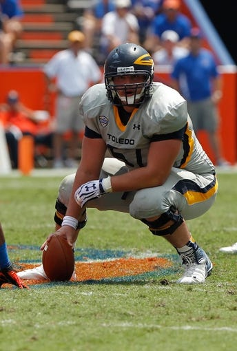 Aug 31, 2013; Gainesville, FL, USA; Toledo Rockets center Zac Kerin (67) during the first half against the Florida Gators at Ben Hill Griffin Stadium. Mandatory Credit: Kim Klement-USA TODAY Sports