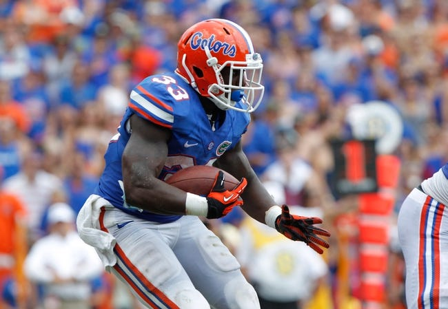 Aug 31, 2013; Gainesville, FL, USA; Florida Gators running back Mack Brown (33) runs with the ball during the first half against the Toledo Rockets at Ben Hill Griffin Stadium. Mandatory Credit: Kim Klement-USA TODAY Sports