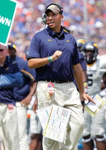 Aug 31, 2013; Gainesville, FL, USA; Toledo Rockets head coach Matt Campbell against the Florida Gators during the second half at Ben Hill Griffin Stadium. Florida Gators defeated the Toledo Rockets 24-6. Mandatory Credit: Kim Klement-USA TODAY Sports