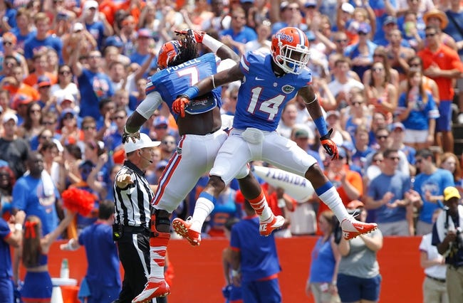 Aug 31, 2013; Gainesville, FL, USA; Florida Gators defensive end Ronald Powell (7) and defensive back Jaylen Watkins (14) celebrate after they stopped the Toledo Rockets on third down  during the first half at Ben Hill Griffin Stadium. Mandatory Credit: Kim Klement-USA TODAY Sports