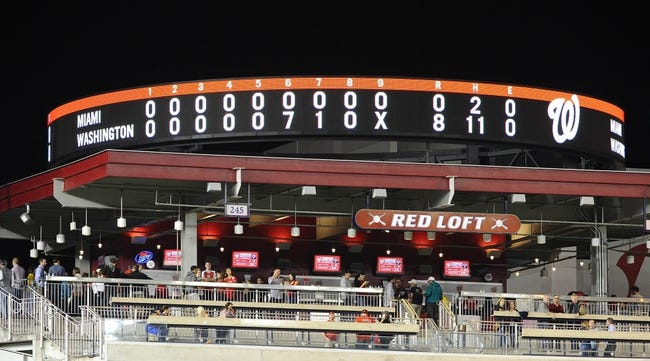 Sep 20, 2013; Washington, DC, USA; General view of the scoreboard following the game between the Washington Nationals and Miami Marlins  at Nationals Park. Mandatory Credit: Brad Mills-USA TODAY Sports