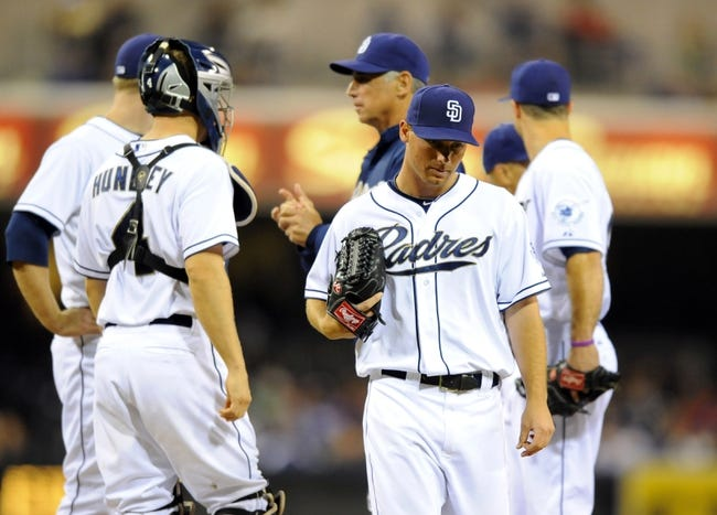 Sep 20, 2013; San Diego, CA, USA; San Diego Padres starting pitcher Robbie Erlin (41) is taken out of the game during the eighth inning against the Los Angeles Dodgers at Petco Park. Mandatory Credit: Christopher Hanewinckel-USA TODAY Sports
