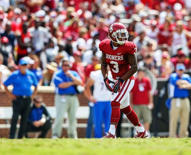 Sep 14, 2013; Norman, OK, USA; Oklahoma Sooners wide receiver Sterling Shepard (3) lines up during the game against the Tulsa Golden Hurricane at Gaylord Family - Oklahoma Memorial Stadium. Oklahoma won 51-20. Mandatory Credit: Kevin Jairaj-USA TODAY Sports