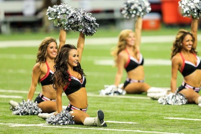 Sep 15, 2013; Atlanta, GA, USA; Atlanta Falcons cheerleaders perform before the game against the St. Louis Rams at the Georgia Dome. The Falcons won 31-24. Mandatory Credit: Daniel Shirey-USA TODAY Sports