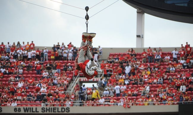 Sep 15, 2013; Kansas City, MO, USA; Kansas City Chiefs mascot KC Wolf enters the stadium before the game between the Kansas City Chiefs and Dallas Cowboys at Arrowhead Stadium. Kansas City won the game 17-16. Mandatory Credit: John Rieger-USA TODAY Sports