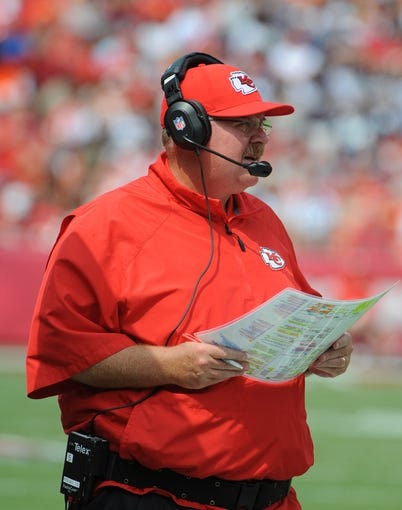 Sep 15, 2013; Kansas City, MO, USA; Kansas City Chiefs head coach Andy Reid looks on against the Dallas Cowboys in the first half at Arrowhead Stadium. Mandatory Credit: John Rieger-USA TODAY Sports