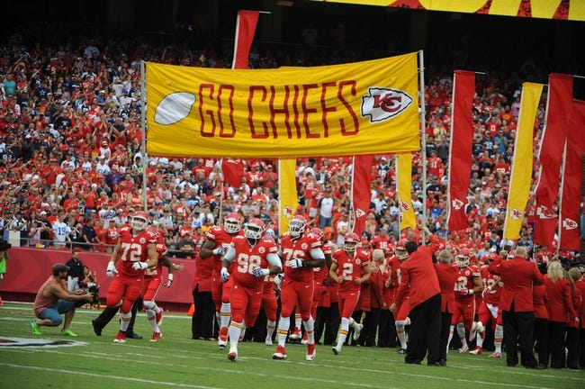 Sep 15, 2013; Kansas City, MO, USA; Kansas City Chiefs players enter the field before the game with the Dallas Cowboys at Arrowhead Stadium. Kansas City won the game 17-16. Mandatory Credit: John Rieger-USA TODAY Sports