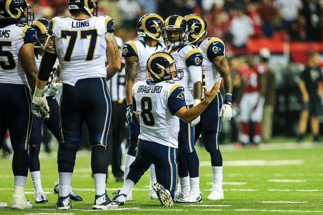 Sep 15, 2013; Atlanta, GA, USA; St. Louis Rams quarterback Sam Bradford (8) looks for a play from the sidelines in the game against the Atlanta Falcons at the Georgia Dome. The Falcons won 31-24. Mandatory Credit: Daniel Shirey-USA TODAY Sports