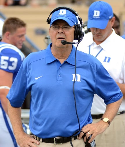 Sep 21, 2013; Durham, NC, USA;  Duke Blue Devils head coach David Cutcliffe watches his team during the first half  against the Pitt Panthers at Wallace Wade Stadium. Mandatory Credit: Rob Kinnan-USA TODAY Sports