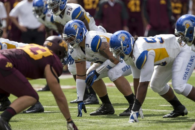 Sep 21, 2013; Minneapolis, MN, USA; San Jose State Spartans defensive tackle Travis Raciti (3) gets lined up before a play in the second half agains the Minnesota Golden Gophers at TCF Bank Stadium. The Gophers won 43-24. Mandatory Credit: Jesse Johnson-USA TODAY Sports