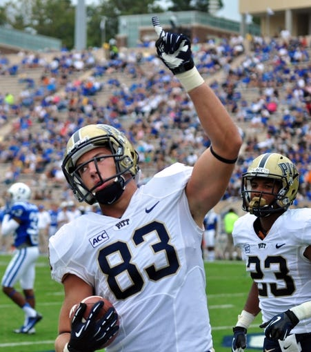 Sep 21, 2013; Durham, NC, USA;  Pitt Panthers tight end Scott Orndoff (83) celebrates a second half touchdown against the Duke Blue Devils at Wallace Wade Stadium. Pitt won 58-55.  Mandatory Credit: Rob Kinnan-USA TODAY Sports