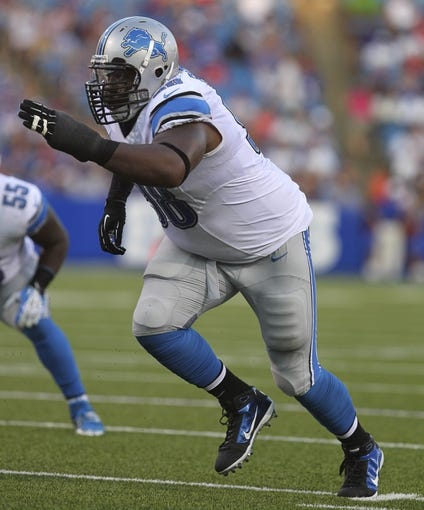 Aug 29, 2013; Orchard Park, NY, USA; Detroit Lions defensive tackle Nick Fairley (98) during the first half against the Buffalo Bills at Ralph Wilson Stadium.  Mandatory Credit: Timothy T. Ludwig-USA TODAY Sports