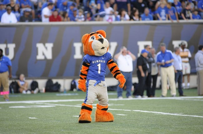 Sep 21, 2013; Memphis, TN, USA; Memphis Tigers mascot before the game against the Arkansas State  Red Wolves at Liberty Bowl Memorial. Mandatory Credit: Justin Ford-USA TODAY Sports