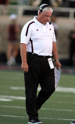 Sep 21, 2013; Lubbock, TX, USA; Texas State Bobcats head coach Dennis Franchione on the sidelines during the game with the Texas Tech Red Raiders at Jones AT&T Stadium. Mandatory Credit: Michael C. Johnson-USA TODAY Sports