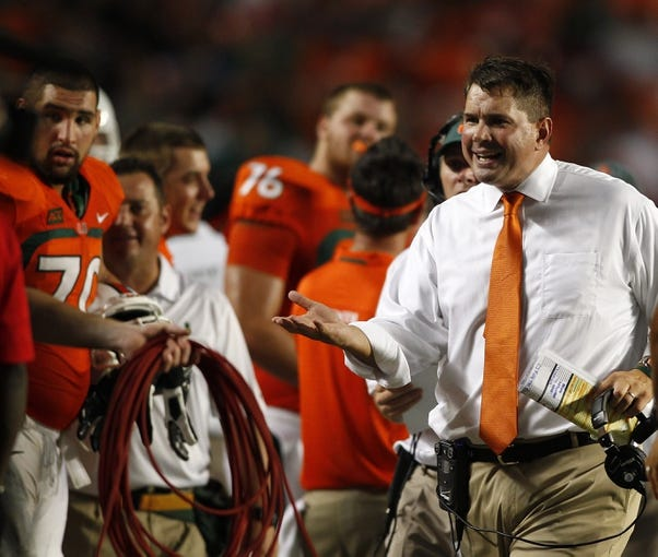 Sep 21, 2013; Miami Gardens, FL, USA;  Miami Hurricanes head coach Al Golden on the sidelines in the second quarter of a game against the Savannah State Tigers at Sun Life Stadium. Mandatory Credit: Robert Mayer-USA TODAY Sports