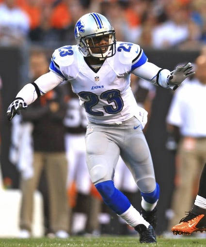 Aug 15, 2013; Cleveland, OH, USA; Detroit Lions cornerback Chris Houston (23) in the first quarter of a preseason game at FirstEnergy Stadium. Mandatory Credit: Andrew Weber-USA TODAY Sports