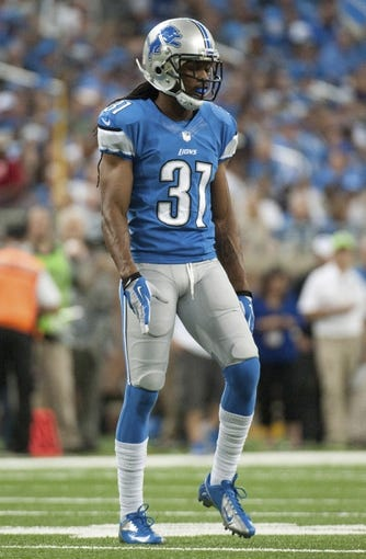 Sep 8, 2013; Detroit, MI, USA; Detroit Lions defensive back Rashean Mathis (31) during the third quarter against the Minnesota Vikings at Ford Field. Mandatory Credit: Tim Fuller-USA TODAY Sports
