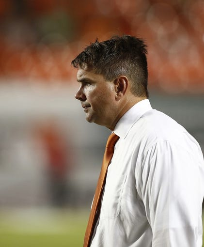 Sep 21, 2013; Miami Gardens, FL, USA;  Miami Hurricanes head coach Al Golden in the second half of a game against the Savannah State Tigers at Sun Life Stadium. Miami won 77-7. Mandatory Credit: Robert Mayer-USA TODAY Sports