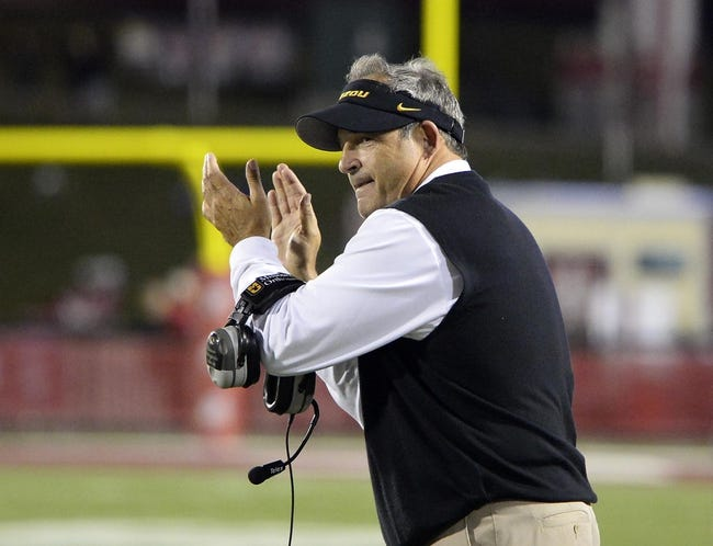 Sep 21, 2013; Bloomington, IN, USA; Missouri Tigers head coach Gary Pinkel reacts after a touchdown against the Indiana Hoosiers during the second half at Memorial Stadium. Missouri defeats Indiana 45-28. Mandatory Credit: Mike DiNovo-USA TODAY Sports