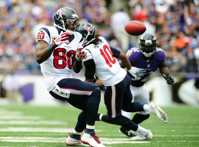 Sep 22, 2013; Baltimore, MD, USA; Houston Texans wide receiver Andre Johnson (80) catches a pass in the second quarter against the Baltimore Ravens at M&T Bank Stadium. Mandatory Credit: Evan Habeeb-USA TODAY Sports