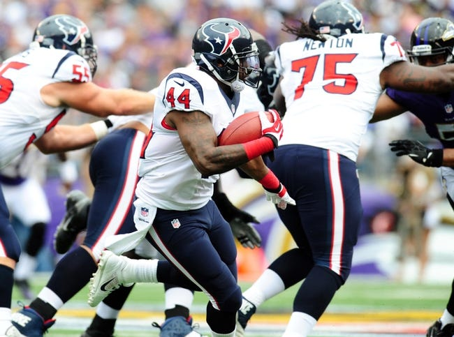 Sep 22, 2013; Baltimore, MD, USA; Houston Texans running back Ben Tate (44) runs with the ball in the first quarter against the Baltimore Ravens at M&T Bank Stadium. Mandatory Credit: Evan Habeeb-USA TODAY Sports