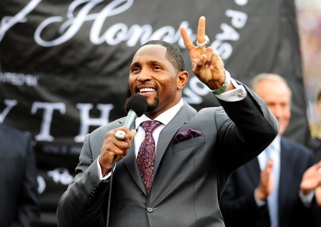 Sep 22, 2013; Baltimore, MD, USA; Former Baltimore Ravens linebacker Ray Lewis addresses the crowd during halftime of the game against the Houston Texans at M&T Bank Stadium. Mandatory Credit: Evan Habeeb-USA TODAY Sports