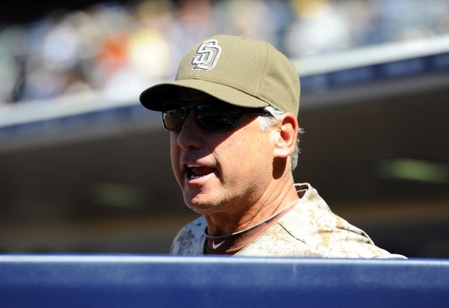 Sep 22, 2013; San Diego, CA, USA; San Diego Padres manager Bud Black (20) disagrees with a call during the third inning against the Los Angeles Dodgers at Petco Park. Mandatory Credit: Christopher Hanewinckel-USA TODAY Sports