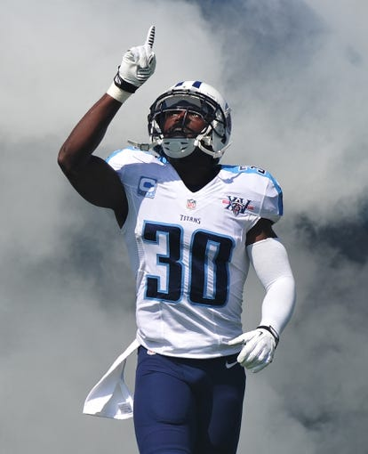 Sep 22, 2013; Nashville, TN, USA; Tennessee Titans cornerback Jason McCourty (30) enters the field before a game against the San Diego Chargers at LP Field. The Titans beat the Chargers 20-17. Mandatory Credit: Don McPeak-USA TODAY Sports