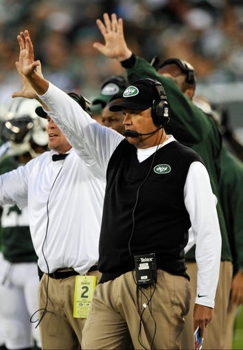 Sep 22, 2013; East Rutherford, NJ, USA; New York Jets head coach Rex Ryan during the game against the Buffalo Bills at MetLife Stadium. Mandatory Credit: Robert Deutsch-USA TODAY Sports