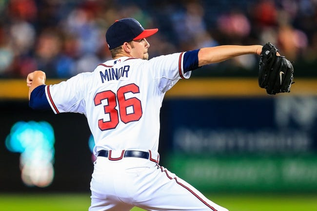 Sep 23, 2013; Atlanta, GA, USA; Atlanta Braves starting pitcher Mike Minor (36) pitches in the third inning against the Milwaukee Brewers at Turner Field. Mandatory Credit: Daniel Shirey-USA TODAY Sports
