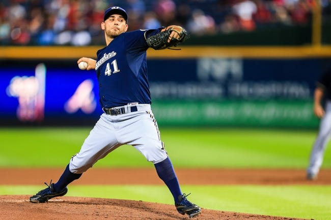 Sep 23, 2013; Atlanta, GA, USA; Milwaukee Brewers starting pitcher Marco Estrada (41) pitches in the second inning against the Atlanta Braves at Turner Field. Mandatory Credit: Daniel Shirey-USA TODAY Sports
