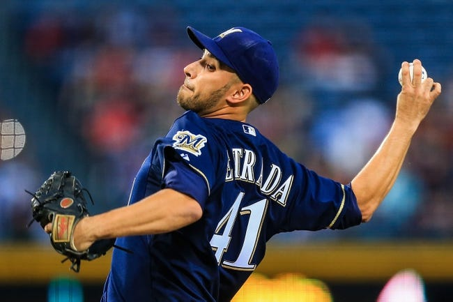 Sep 23, 2013; Atlanta, GA, USA; Milwaukee Brewers starting pitcher Marco Estrada (41) pitches in the first inning against the Atlanta Braves at Turner Field. Mandatory Credit: Daniel Shirey-USA TODAY Sports