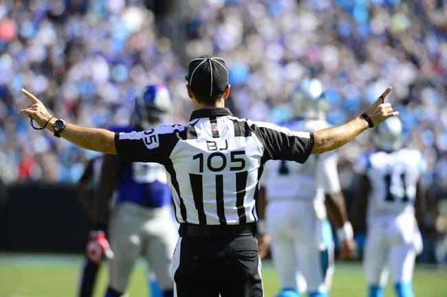 Sep 22, 2013; Charlotte, NC, USA; Official Dino Paganelli (105) on the field. The Carolina Panthers defeated the New York Giants 38-0 at Bank of America Stadium. Mandatory Credit: Bob Donnan-USA TODAY Sports
