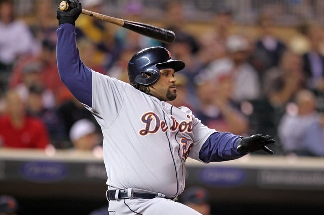 Sep 23, 2013; Minneapolis, MN, USA; Detroit Tigers first baseman Prince Fielder (28) hits a single during the seventh inning against the Minnesota Twins at Target Field. Mandatory Credit: Brace Hemmelgarn-USA TODAY Sports