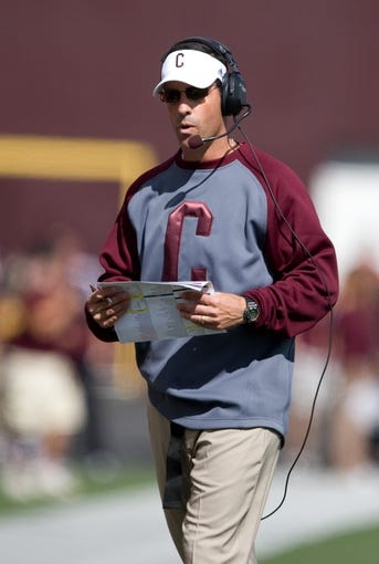 Sep 21, 2013; Mount Pleasant, MI, USA; Central Michigan Chippewas head coach Dan Enos walks near the sideline during the first quarter against the Toledo Rockets at Kelly/Shorts Stadium. Rockets beat the Chippewas 38-17. Mandatory Credit: Raj Mehta-USA TODAY Sports