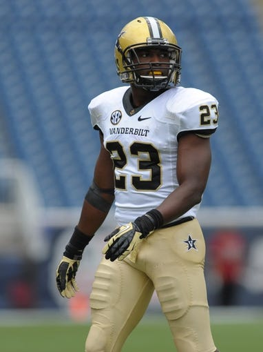 Sep 21, 2013; Foxborough, MA, USA; Vanderbilt Commodores defensive back Andre Hal (23) during the first half against the Massachusetts Minutemen at Gillette Stadium. Mandatory Credit: Bob DeChiara-USA TODAY Sports