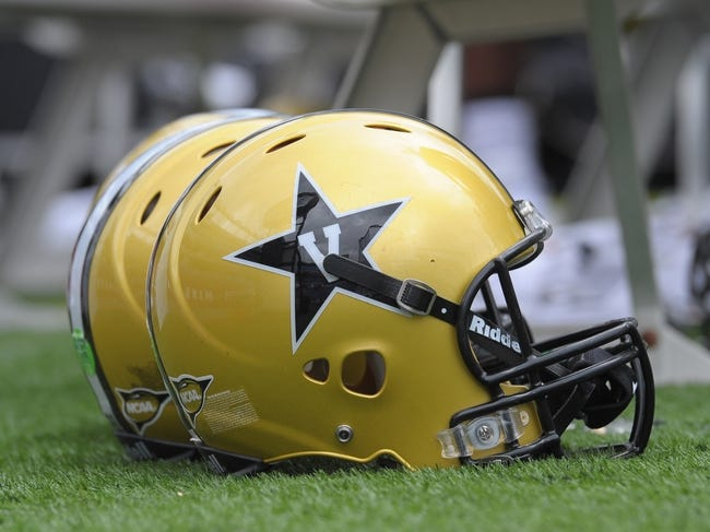 Sep 21, 2013; Foxborough, MA, USA; A Vanderbilt Commodores helmet rests on the field during the first half against the Massachusetts Minutemen at Gillette Stadium. Mandatory Credit: Bob DeChiara-USA TODAY Sports