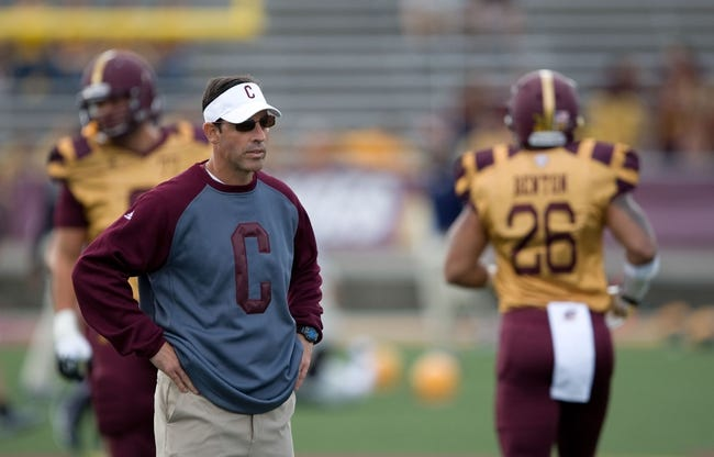 Sep 21, 2013; Mount Pleasant, MI, USA; Central Michigan Chippewas head coach Dan Enos before the game against the Toledo Rockets at Kelly/Shorts Stadium. Rockets beat the Chippewas 38-17. Mandatory Credit: Raj Mehta-USA TODAY Sports