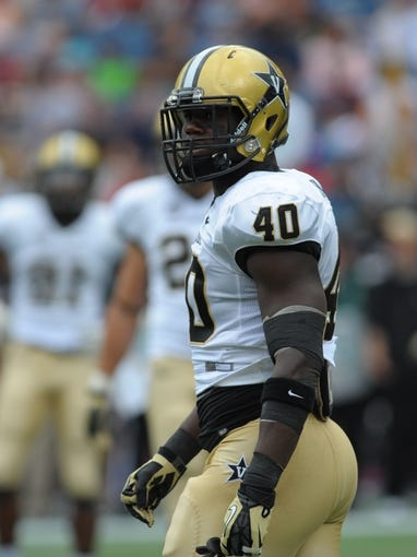 Sep 21, 2013; Foxborough, MA, USA; Vanderbilt Commodores linebacker Ja'karri Thomas (40) during the first half against the Massachusetts Minutemen at Gillette Stadium. Mandatory Credit: Bob DeChiara-USA TODAY Sports