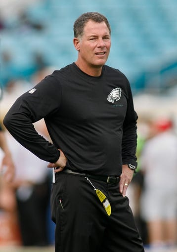 Aug 24, 2013; Jacksonville, FL, USA; Philadelphia Eagles offensive coordinator Pat Shurmur prior to the start of their game against the Jacksonville Jaguars at EverBank Field. The Philadelphia Eagles beat the Jacksonville Jaguars 31-24. Mandatory Credit: Phil Sears-USA TODAY Sports