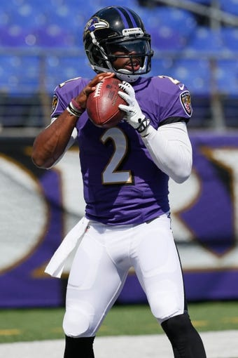 Sep 15, 2013; Baltimore, MD, USA; Baltimore Ravens quarterback Tyrod Taylor (2) prior to the game against the Cleveland Browns at M&T Bank Stadium. Mandatory Credit: Mitch Stringer-USA TODAY Sports