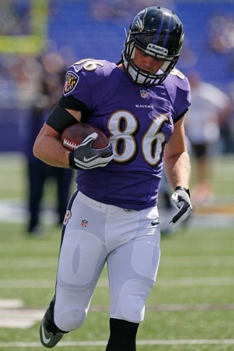 Sep 15, 2013; Baltimore, MD, USA; Baltimore Ravens tight end Billy Bajema (86) prior to the game against the Cleveland Browns at M&T Bank Stadium. Mandatory Credit: Mitch Stringer-USA TODAY Sports